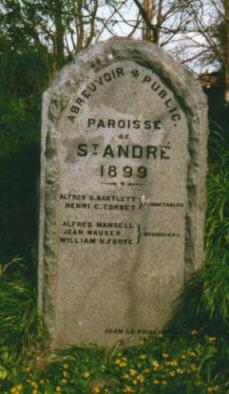 Stone signpost to abreuvoir at La Villiaze, St Andrew's